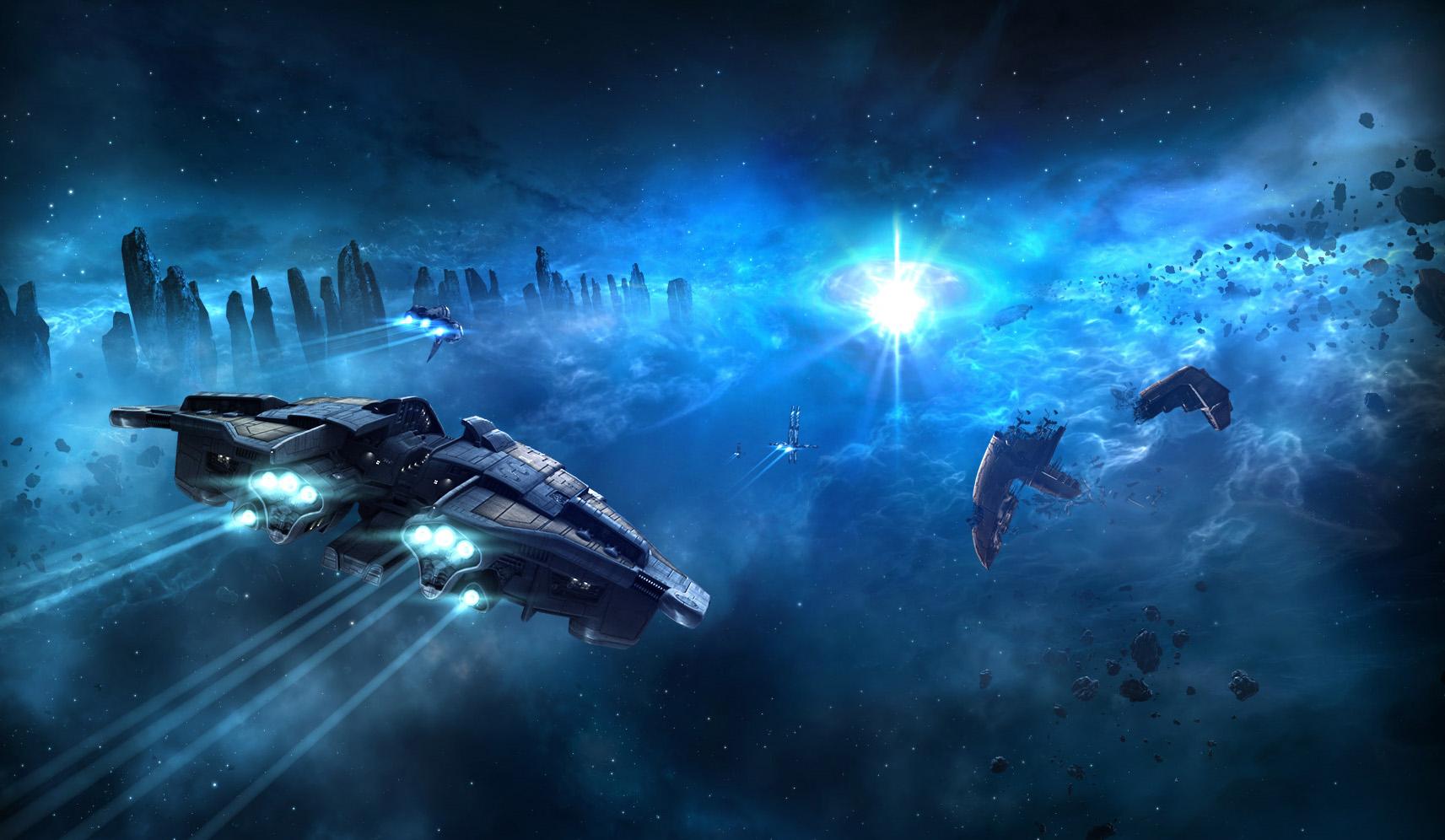 Statek kosmiczny na niebieskim tle