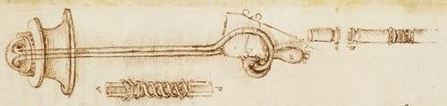 Szkic aparatury do nurkowania zaprojektowany przez Leonarda Da Vinci