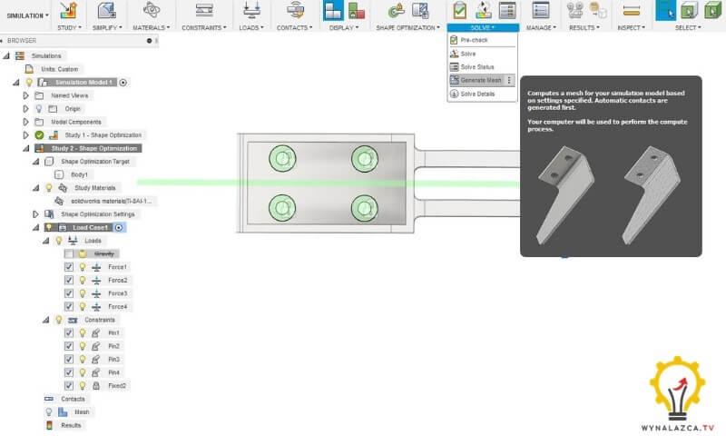 """Wykorzystanie opcji """"Generate Mesh"""" w oknie programu Fusion 360"""