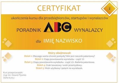 certyfikat poradnik abc wynalazcy