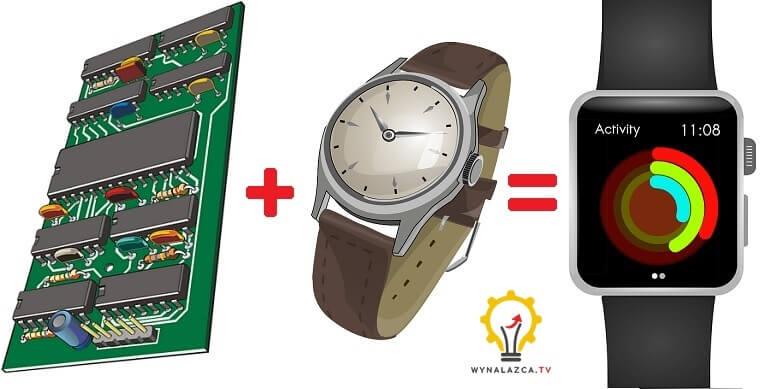 """Przykładowy szkic ideowy - koncepcyjny na podstawie gotowych zdjęć dla wynalazku """"Smart Watch"""""""