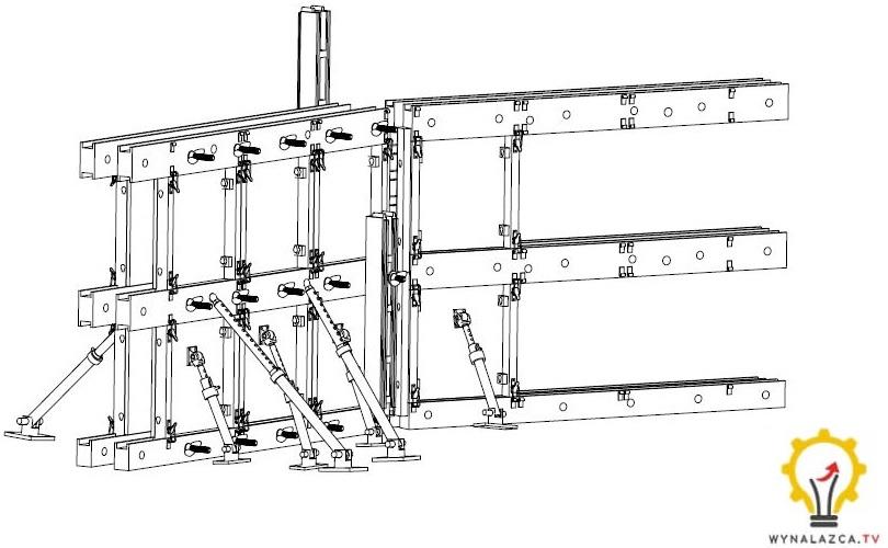 Modułowy szalunek do fundamentów w wariancie pierwszym wg opisu patentowego