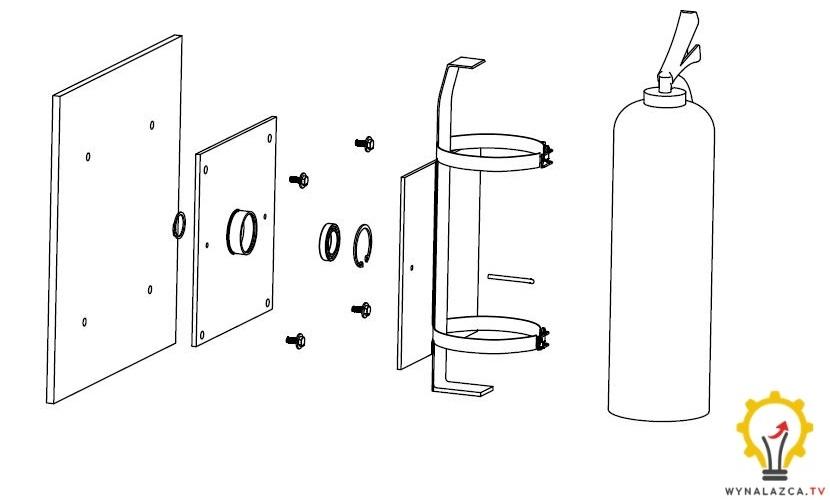 Wieszak i uchwyt obrotowy do gaśnic w wariancie 1 wg opisu patentowego.