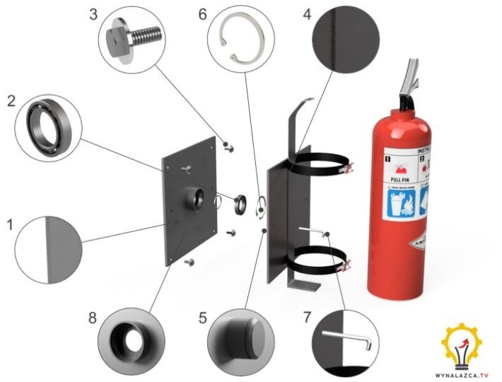 Budowa wynalazku: Wieszak i uchwyt obrotowy do gaśnic