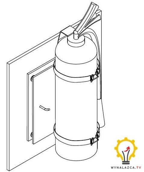 Zabezpieczona gaśnica z oprzyrządowaniem w położeniu zablokowanym