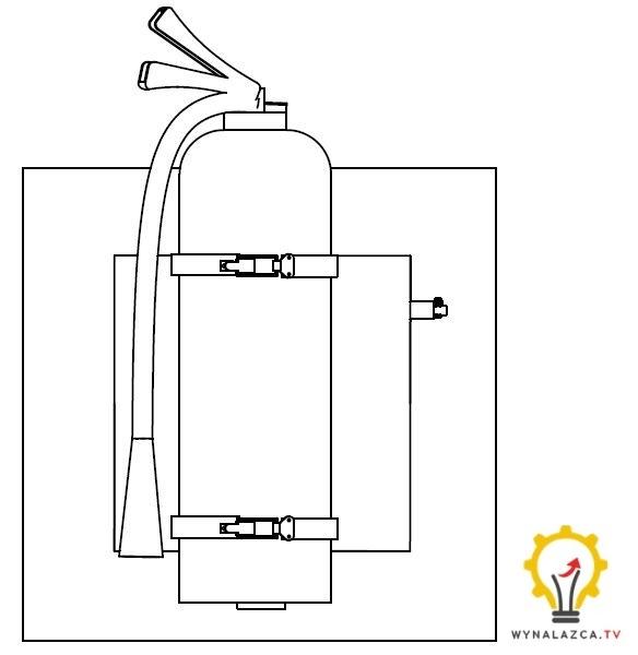 Zabezpieczone gaśnica przed jej obrotem za pomocą suwaka.