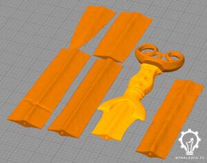 Model zabytkowego miecza do druku 3D podzielony na 7 części