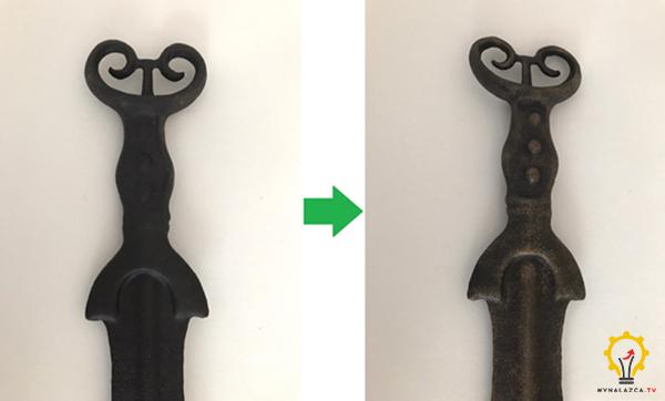 Wydruk 3D replika zabytkowego miecza z Kielczy malowanie wydruku 3D