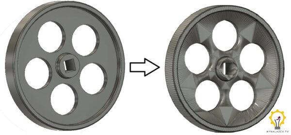 Koło zamachowe silnika Stirlinga przed i po eksporcie do formatu STL