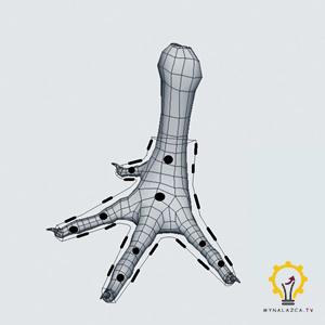 Wstępna koncepcja rozmieszczenia otworów wentylacyjnych i zatrzasków na modelu ortezy na stopę kury
