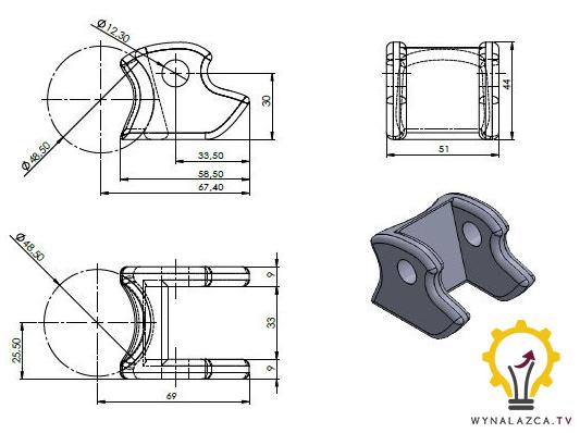 Przykład dokumentacji technicznej wykonawczej (fragment): widełki kształtowe